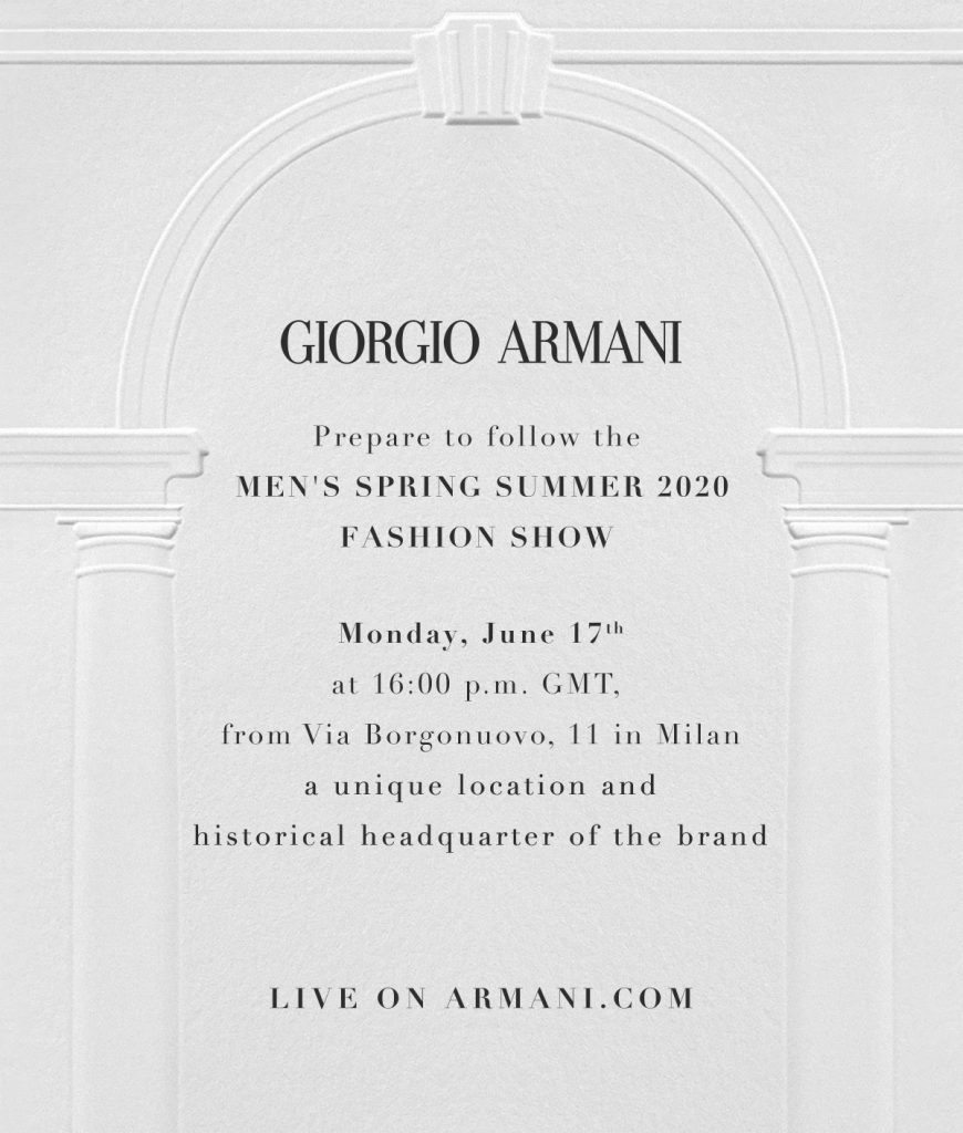 Counting down to the Giorgio Armani Men's Fashion Show